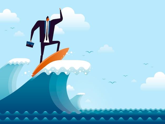 Ilustração do conceito de negócio, homem adequado andando em uma prancha de surf