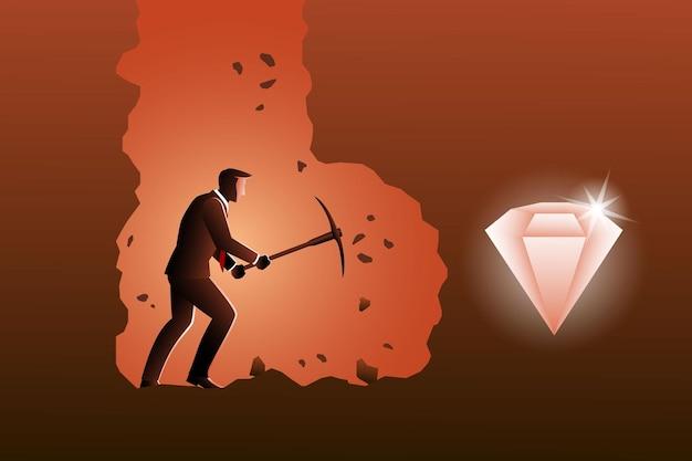 Ilustração do conceito de negócio, um empresário cavando com uma picareta para conseguir diamantes