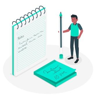 Ilustração do conceito de notas