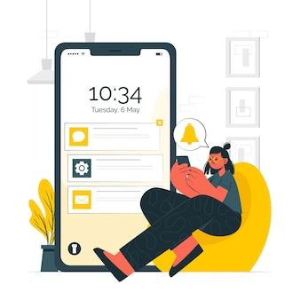 Ilustração do conceito de notificações push
