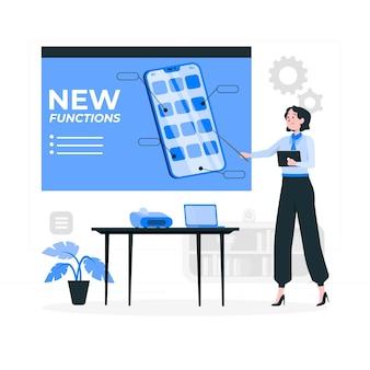 Ilustração do conceito de novas funções