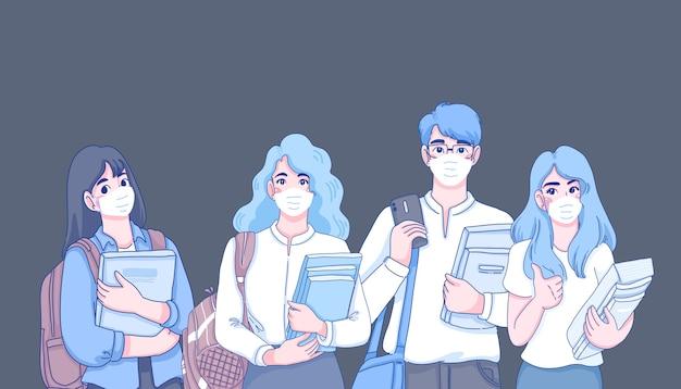 Ilustração do conceito de novo estilo de vida normal. ilustração do personagem de desenho animado.