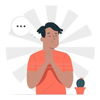 Ilustração do conceito de oração