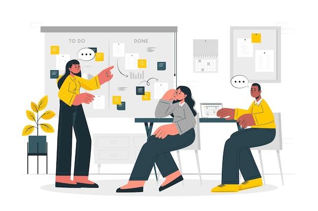 Ilustração do conceito de organização de projetos