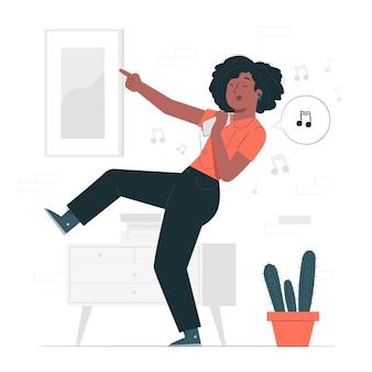 Ilustração do conceito de ouvir música feliz