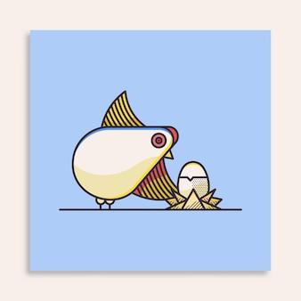 Ilustração do conceito de ovo e galinha abstratos