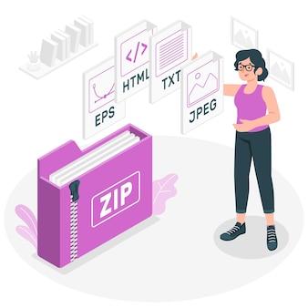 Ilustração do conceito de pacote de arquivos