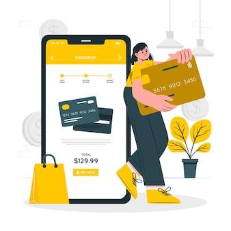 Ilustração do conceito de pagamento com cartão de crédito