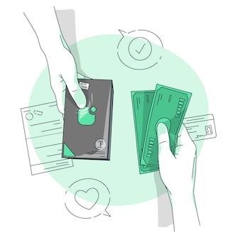 Ilustração do conceito de pagamento em dinheiro
