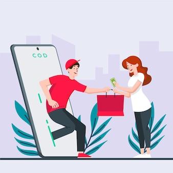 Ilustração do conceito de pagamento na entrega