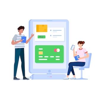 Ilustração do conceito de pagamento online