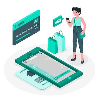 Ilustração do conceito de pagamentos móveis