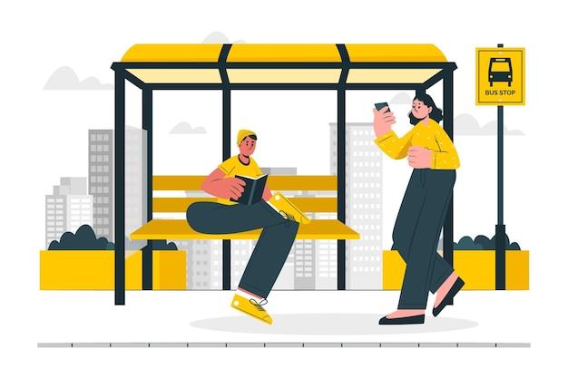Ilustração do conceito de parada de ônibus