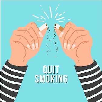 Ilustração do conceito de parar de fumar