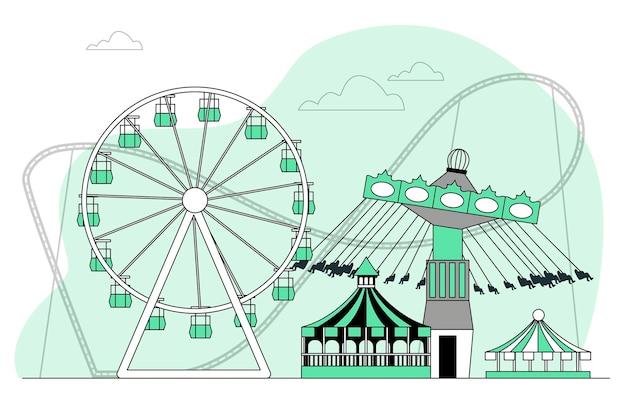 Ilustração do conceito de parque de diversões