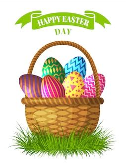 Ilustração do conceito de páscoa. cesta com ovos coloridos