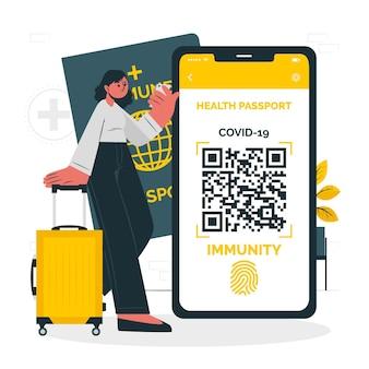 Ilustração do conceito de passaporte de saúde