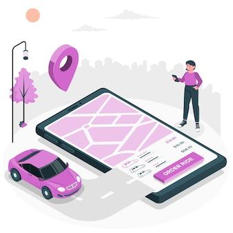 Ilustração do conceito de passeio de pedido