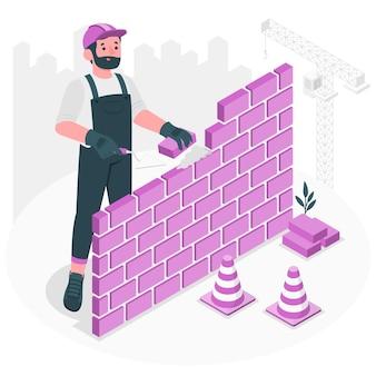 Ilustração do conceito de pedreiro