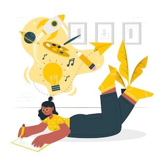 Ilustração do conceito de pensamento criativo