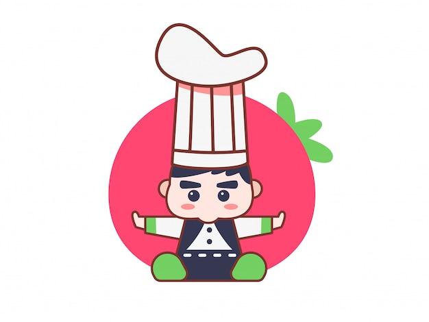 Ilustração do conceito de personagem chef fofo