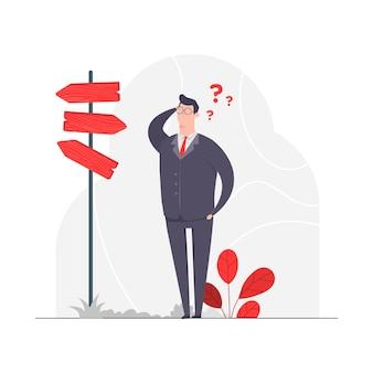 Ilustração do conceito de personagem empresário perdeu o caminho direção confuso