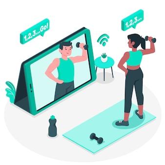 Ilustração do conceito de personal trainer on-line