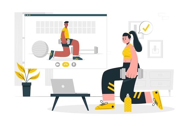 Ilustração do conceito de personal trainer online