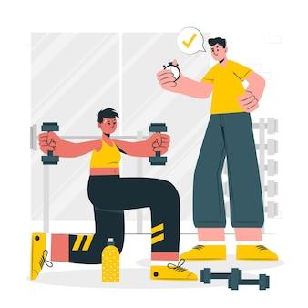 Ilustração do conceito de personal trainer