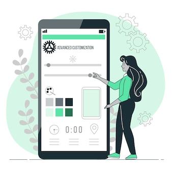 Ilustração do conceito de personalização avançada