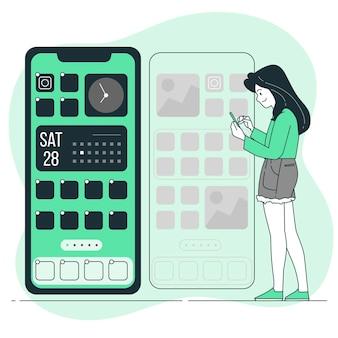 Ilustração do conceito de personalização do telefone
