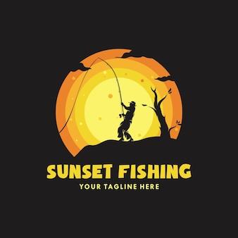 Ilustração do conceito de pesca ao pôr do sol