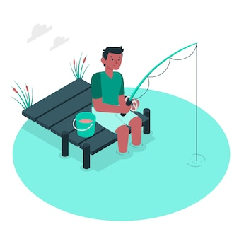 Ilustração do conceito de pesca