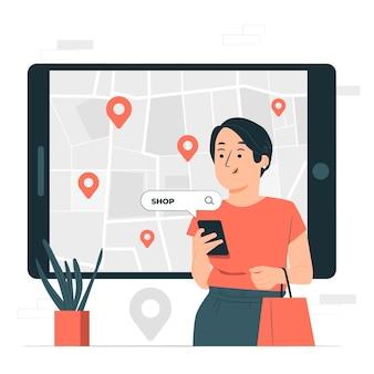 Ilustração do conceito de pesquisa de localização