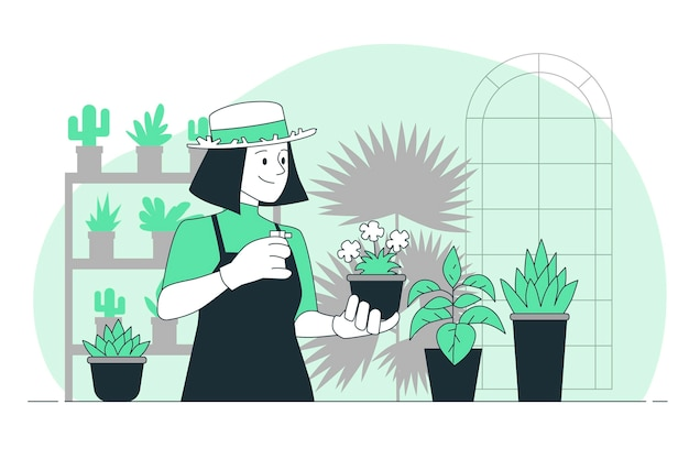 Ilustração do conceito de pessoas cuidando das plantas