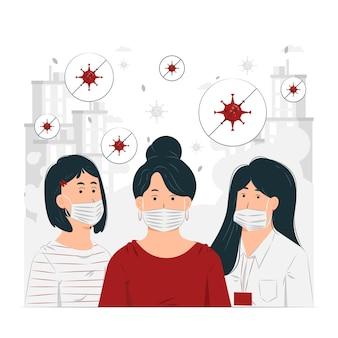 Ilustração do conceito de pessoas usando máscara médica