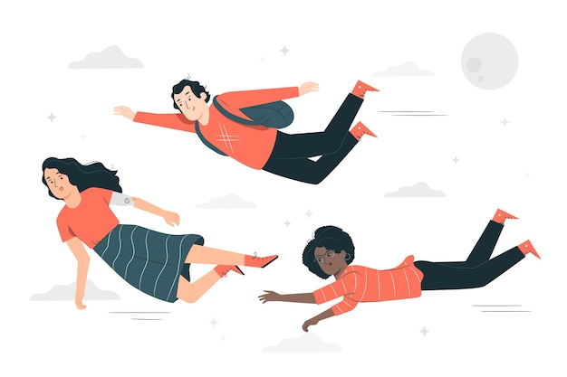 Ilustração do conceito de pessoas voando
