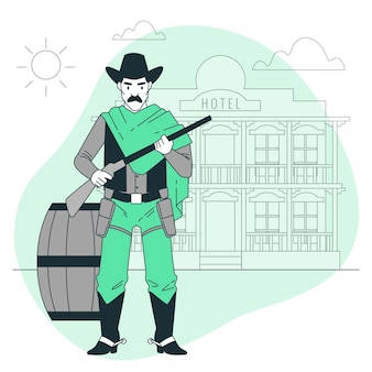 Ilustração do conceito de pistoleiro