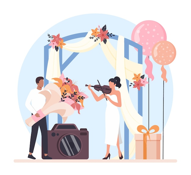 Ilustração do conceito de planejador de casamento