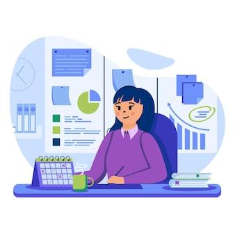 Ilustração do conceito de planejamento de negócios com personagens em design plano