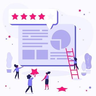 Ilustração do conceito de plano dando feedback