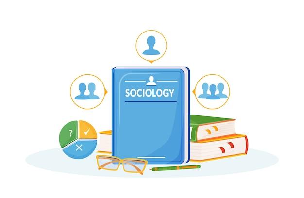 Ilustração do conceito de plano de sociologia. matéria escolar. metáfora das ciências sociais. curso universitário. estudo da sociedade. análise de interação de pessoas. livros didáticos de alunos objetos de desenho em 2d