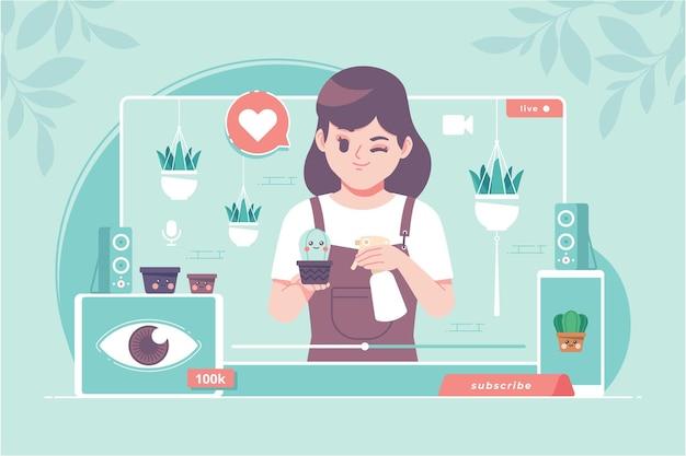 Ilustração do conceito de plantio do criador de conteúdo