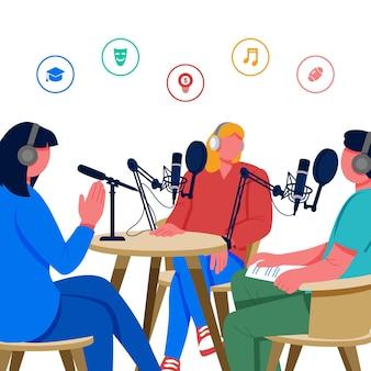 Ilustração do conceito de podcast Vetor Premium