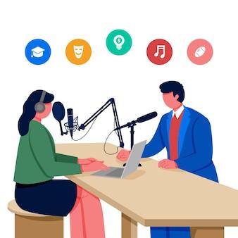 Ilustração do conceito de podcast