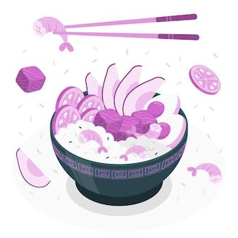 Ilustração do conceito de poke bowl