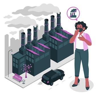 Ilustração do conceito de poluição do ar