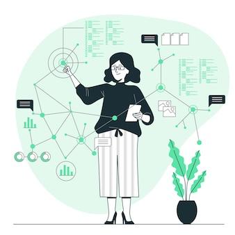 Ilustração do conceito de pontos de dados