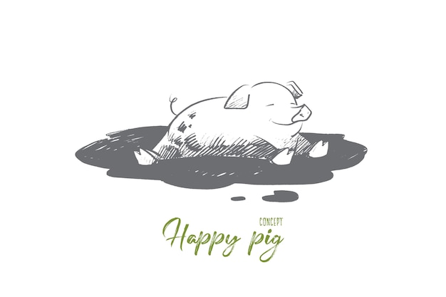 Ilustração do conceito de porco feliz