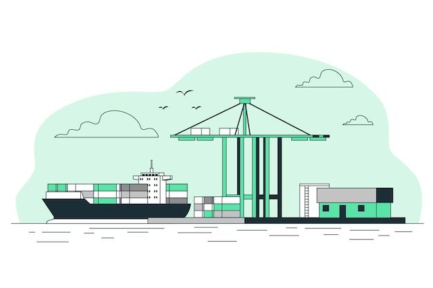 Ilustração do conceito de porto